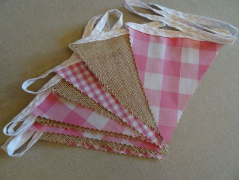BUNTING - Hessian & Small & Large Pink Gingham  - 3m/10ft